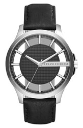 Armani Exchange Men's Ax Skeleton Dial Leather Strap Watch 46Mm