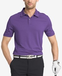 Izod Men's Striped Performance Golf Polo Purple
