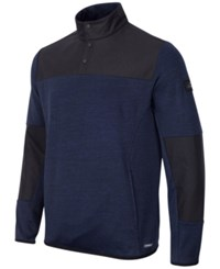 Greg Norman For Tasso Elba Men's Quarter Snap Hydrotech Colorblocked Jacket Only At Macy's Night Sky Heather