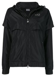 Emporio Armani Ea7 Side Logo Zipped Parka Black