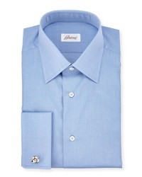 Brioni End On End French Cuff Dress Shirt Blue