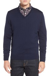 Men's Thomas Dean Regular Fit V Neck Merino Wool Sweater Navy