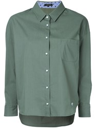 Loveless High Low Hem Shirt Women Cotton Polyester 34 Green