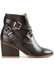 Thakoon Addition Buckled Ankle Boots Brown