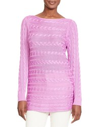 Lauren Ralph Lauren Petite Cable Knit Cotton Sweater Hyacinth Purple