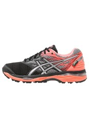 Asics Gelcumulus 18 Gtx Cushioned Running Shoes Black Silver Flash Coral