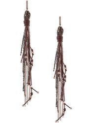 Brunello Cucinelli Fringe Earrings Brown