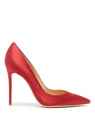Gianvito Rossi 100Mm Point Toe Satin Pumps Dark Red