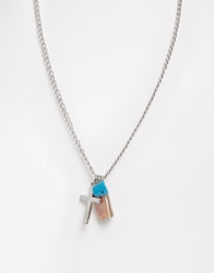 Asos Necklace With Cross And Turquoise Pendant Silver