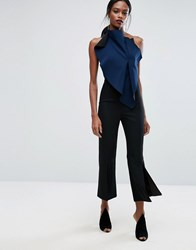Aq Aq Cropped Flared Tailored Trousers With Front Split Black
