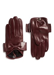 Maison Fabre 'Audrey' Bow Lambskin Leather Short Gloves Red