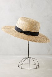 Anthropologie Eleanor Boater Hat Neutral