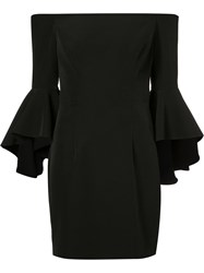Milly Flared Sleeve Fitted Dress Black
