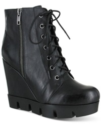 Mia Kendall Treaded Lace Up Platform Wedge Booties Women's Shoes