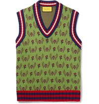 Gucci Slim Fit Wool And Cotton Blend Jacquard Sweater Vest Green