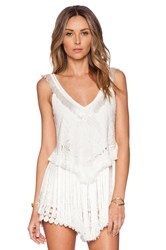 Alexis Baily Fringe Lace Top White