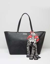 Love Moschino Tote Bag With Zebra Scarf Black