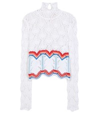 Peter Pilotto Lace Knit Cotton Sweater Multicoloured