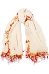 Maje Frayed Cotton Scarf White