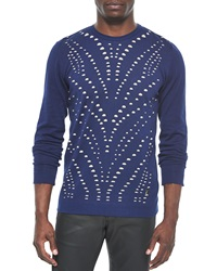 Versace Collection Perforated Crewneck Sweater Navy Beige