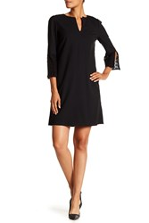 Lafayette 148 New York Deandra Lace Sleeve Split Neck Dress Black