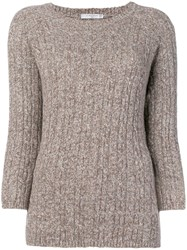 Circolo 1901 Long Sleeve Fitted Sweater Brown