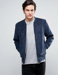 Jack And Jones Originals Faux Suede Bomber Jacket Total Eclipse Navy