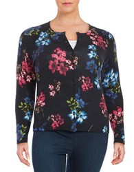 Lord And Taylor Plus Floral Cashmere Cardigan Black Multi