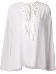 Giamba Feather Detail Top White