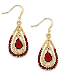 Style And Co. Gold Tone Red Stone Teardrop Earrings