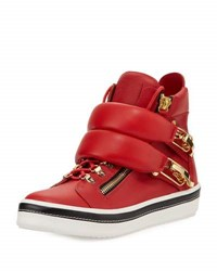 Giuseppe Zanotti Ski Buckle High Top Sneaker Red