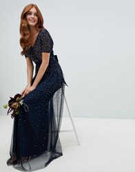 Maya V Neck Maxi Tulle Dress With Contrast Tonal Delicate Sequins In Navy Navy Multi