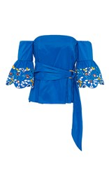 Peter Pilotto Taffeta Embroidered Corset Top Blue