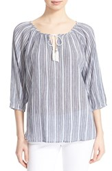 Women's Soft Joie 'Legaspi' Stripe Cotton Peasant Top Peacoat