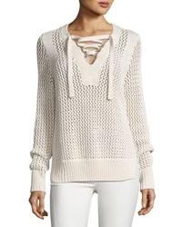 Derek Lam Crochet Lace Up Pullover Sweater Natural