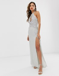 Frock And Frill High Embellished Sleeveless Maxi Dress Grey