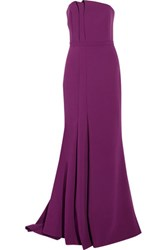 Halston Heritage Strapless Pleated Stretch Crepe Gown Violet