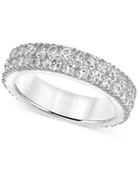 B. Brilliant Cubic Zirconia Two Row Eternity Band In Sterling Silver