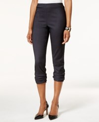 Styleandco. Style And Co. Ruched Hem Cropped Skinny Capri Pants Only At Macy's Indigo Heather