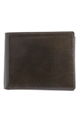 Men's Johnston And Murphy Flip Billfold Leather Wallet Grey Charcoal