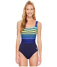Tyr Ombre Stripe Aqua Controlfit Navy Green Women's Swimsuits One Piece