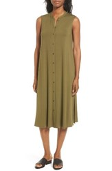 Eileen Fisher Women's Jersey Mandarin Collar Duster Dress Olive