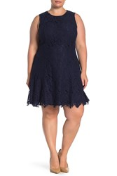 Vince Camuto Lace Fit And Flare Dress Plus Size Navy