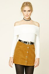 Forever 21 Corduroy Button Front Skirt Mustard