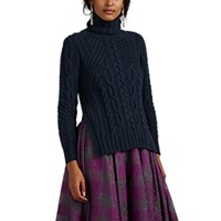Zac Posen Cable Knit Wool Cashmere Turtleneck Sweater Navy