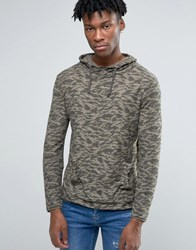 Pull And Bear Pullandbear Hoodie In Camo Khaki Green