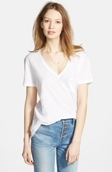 Women's Madewell Slub Pocket V Neck Tee Optic White