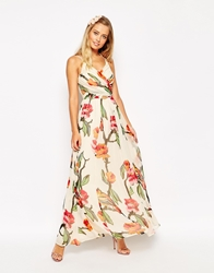 Asos Halter Maxi Dress With Cut Out Sides In Love Bird Print