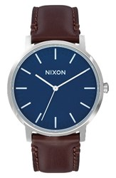 Nixon Men's Porter Round Leather Strap Watch 40Mm Brown Navy Silver