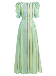 Vika Gazinskaya Puff Sleeved Striped Organza Gown Green